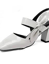 hesapli -Kadın's Ayakkabı PU Yaz Günlük Sandaletler Kalın Topuk Günlük için Fiyonk Gri / Açık Yeşil