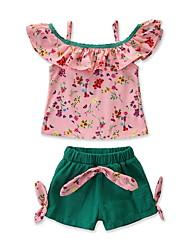 levne -Dítě Dívčí Aktivní / Základní Květinový Volány / Tisk Bez rukávů Standardní Bavlna / Spandex Sady oblečení Světlá růžová