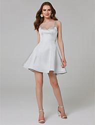 Χαμηλού Κόστους -Γραμμή Α Λεπτές Τιράντες Κοντό / Μίνι Σατέν Επίσημο Βραδινό Φόρεμα με Κρυστάλλινη λεπτομέρεια με TS Couture®