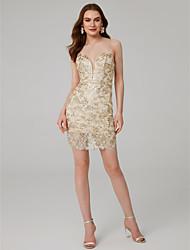 Χαμηλού Κόστους -Ίσια Γραμμή Λεπτές Τιράντες Μέχρι το γόνατο Δαντέλα Φανταχτερό Επίσημο Βραδινό Φόρεμα με Πούλιες με TS Couture®