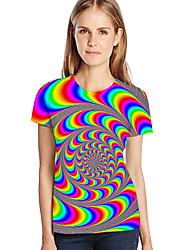 abordables -Tee-shirt Femme, Géométrique / 3D / Graphique Imprimé Chic de Rue / Exagéré Rouge XXXL