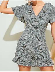 hesapli -Kadın mini gevşek salıncak elbise v boyun gökkuşağı s m l xl