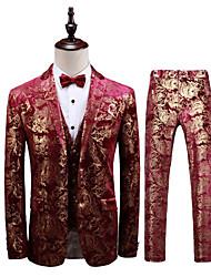 abordables -Couleur Rubis Avec motifs Coupe Slim Polyester Costume - Cranté Droit 2 boutons