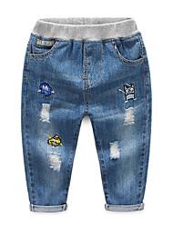 abordables -Enfants Garçon Basique / Chic de Rue Couleur Pleine Troué / Déchiré / Mosaïque Coton Jeans Bleu