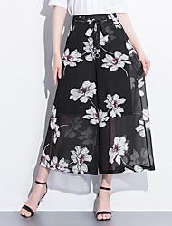 levne -Dámské Základní Široké nohavice Kalhoty - Květinový / Tisk Bílá