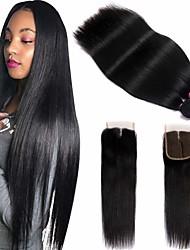 abordables -3 paquets avec fermeture Cheveux Brésiliens Droit Paquets de 100% Remy Hair Weave Tissages de cheveux humains Bundle cheveux One Pack Solution 8-20 pouce Couleur naturelle Tissages de cheveux humains