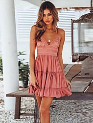 preiswerte -Damen Boho Elegant A-Linie Kleid - Spitze Rückenfrei mit Schnürung, Solide Übers Knie