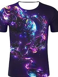 お買い得  -男性用 プリント Tシャツ ロック / 誇張された 3D / 虹色 / グラフィック ネイビーブルー XXL