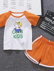 abordables -bébé Garçon Basique / Chic de Rue Imprimé Imprimé Manches Courtes Normal Normal Coton Ensemble de Vêtements Vert