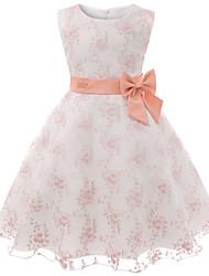 levne -Děti / Toddler Dívčí Základní / Sladký Květinový Mašle Bez rukávů Délka ke kolenům Bavlna Šaty Světlá růžová