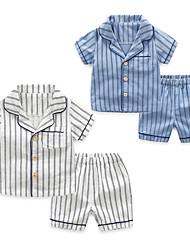 abordables -2pcs Enfants Garçon Actif / Basique Rayé Bandes / Boucles Coton Vêtements de nuit Bleu