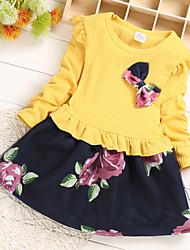 abordables -Bébé Fille Actif / Le style mignon Noir & rouge / Noir & Blanc Fleur Noeud / Mosaïque Manches Longues Au dessus du genou Coton / Polyester Robe Rouge
