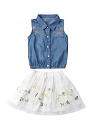 abordables -bébé Fille Actif / Basique Couleur Pleine / Mosaïque Maille Sans Manches Normal Coton Ensemble de Vêtements Bleu