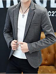 preiswerte -Schwarz / Grau / Hell Gray Solide Schlanke Passform Polyester Anzug - Fallendes Revers Einreiher - 1 Knopf