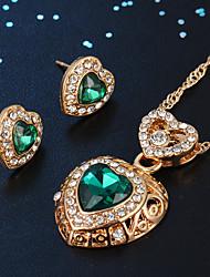 Недорогие -Жен. Серьги-гвоздики Ожерелья с подвесками Классический Сердце Стиль Классика Стразы Позолота Серьги Бижутерия Зеленый Назначение Повседневные Офис 1 комплект