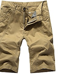 abordables -Hombre Básico Shorts Pantalones - Un Color Negro