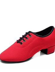 0e87519e19e Κοριτσίστικα Μοντέρνα παπούτσια Πανί Τακούνια Πυκνό τακούνι Εξατομικευμένο  Παπούτσια Χορού Μαύρο / Κόκκινο