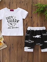 levne -Dítě Chlapecké Aktivní / Základní Tisk Tisk Krátký rukáv Standardní Bavlna / Spandex Sady oblečení Bílá