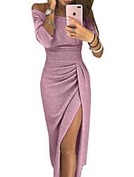 tanie -Damskie Moda miejska Elegancja Pochwa Sukienka - Solidne kolory, Z marszczeniami Rozcięcie Patchwork Midi