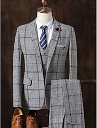 abordables -Gris / Gris Claire / Kaki À carreaux Coupe Sur-Mesure Coton Costume - Cranté Droit 1 bouton