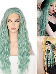 halpa -Synteettiset peruukit / Synteettiset pitsireunan peruukit Laineita / Loose Curl Jenner Tyyli Keskiosa Lace Front Peruukki Vihreä Mintun vihreä Synteettiset hiukset 26inch Naisten Klassinen