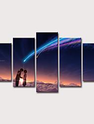 tanie -Nadruk Wydruki na rozciągniętym płótnie - Krajobraz Niebo i wszechświat Klasyczny Nowoczesny Pięć paneli Reprodukcje