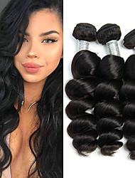 billige -3 Bundler Peruviansk hår Løst, bølget hår Ubehandlet Menneskehår 100% Remy Hair Weave Bundles Hovedstykke Bundle Hair Hårforlængelse af menneskehår 8-28 inch Naturlig Farve Menneskehår Vævninger Let