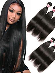 billige -6 Bundler malaysisk hår Lige Ubehandlet Menneskehår 100% Remy Hair Weave Bundles Hovedstykke Menneskehår, Bølget Bundle Hair 8-28 inch Sort Naturlig Farve Menneskehår Vævninger Lugtfri Blød Hot Salg