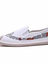 halpa -Miesten Comfort-kengät Canvas / Pellava Kesä Vapaa-aika Mokkasiinit Non-liukastumisen Color Block Valkoinen / Musta