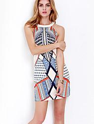 abordables -Mujer Boho Elegante Vaina Vestido Geométrico Sobre la rodilla