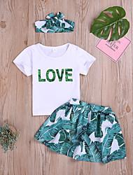 abordables -Bebé Chica Activo / Básico Estampado Estampado Manga Corta Regular Regular Algodón Conjunto de Ropa Verde Trébol