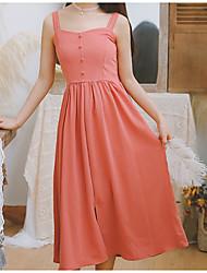 お買い得  -女性のミディチュニックドレスストラップシフォンワイン赤面ピンクs m l