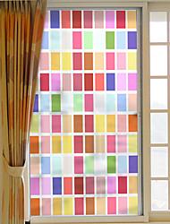 Недорогие -цветная решетка съемная оконная пленка пвх&Усилитель стикеров украшения геометрический