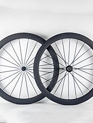 Недорогие -700CC Колесные пары Велоспорт 23 mm Шоссейный велосипед Полный углерод Однотрубка F:20 R:24 Спицы 50 mm