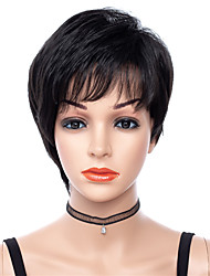 저렴한 -인조 합성 가발 직진 Rihanna 스타일 무료 부품 캡 없음 가발 블랙 블랙 인조 합성 헤어 8 인치 여성용 조절가능 / 내열성 / 클래식 블랙 가발 짧음 코스플레이 가발