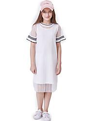 abordables -Enfants Fille Actif / Basique Couleur Pleine Plissé Manches Courtes Normal Normal Rayonne Ensemble de Vêtements Blanc