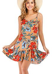cheap -Women's Boho Elegant Sheath Dress - Geometric Khaki M L XL