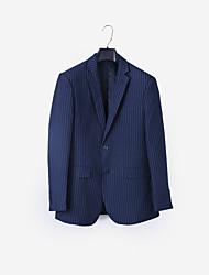 preiswerte -Dunkelmarine Gestreift Weite Passform Polyester Anzug - Fallendes Revers Einreiher - 2 Knöpfe