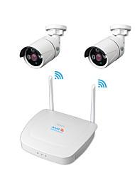 Недорогие -Didseth Wireless NVR Комплекты 4-канальный 1080p Wi-Fi NVR с 2шт 130 Вт наружного ночного видения беспроводных IP-камер (на открытом воздухе 600 м)