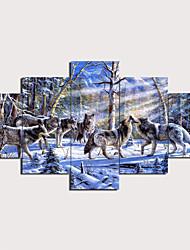 Недорогие -С картинкой Отпечатки на холсте - Животные Традиционный Modern 5 панелей Репродукции