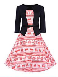 billige -Dame Vintage Grunnleggende Swing Kjole - Blomstret Dyr, Lapper Trykt mønster Ovenfor knéet