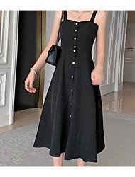 halpa -naisten midi löysä keinu mekko hihna musta s m