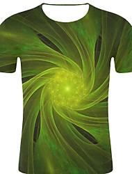 お買い得  -男性用 プリント Tシャツ ロック / 誇張された ストライプ / 3D / グラフィック グリーン XXL