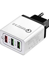 Недорогие -Быстрое зарядное устройство Зарядное устройство USB Евро стандарт Несколько разъемов / QC 3.0 3 USB порта 2.1 A 100~240 V для Универсальный