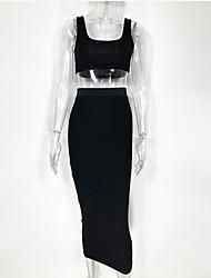 Недорогие -Полиэфир Клубное платье Супер секси Однотонный Особые случаи Рюши / сборки Комбинезоны для ночного клуба