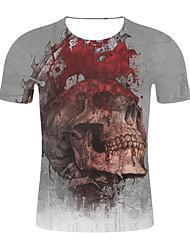 저렴한 -남성용 기하학 / 3D 티셔츠 그레이 XXL