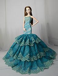 Недорогие -Платье куклы Вечеринка Для Barbie Цветочные ботанический Сатин / тюль Кружево Satin Платье Для Девичий игрушки куклы