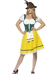 Недорогие -Октоберфест Широкая юбка в сборку Trachtenkleider Жен. Платье баварский Костюм Красный Желтый