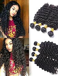voordelige -6 bundels Braziliaans haar Diepe Golf Mensen Remy Haar Menselijk haar weeft Bundle Hair Een Pack Solution 8-28 inch(es) Natuurlijke Kleur Menselijk haar weeft Waterherfst Geurvrij Zacht Extensions