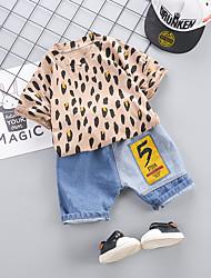 abordables -bébé Garçon Basique / Chic de Rue Imprimé / Léopard / Mosaïque Mosaïque / Imprimé Manches Courtes Normal Normal Coton Ensemble de Vêtements Gris